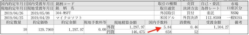 米国株取引手数料具体例