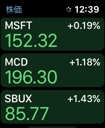 Apple Watch株価アプリ画面